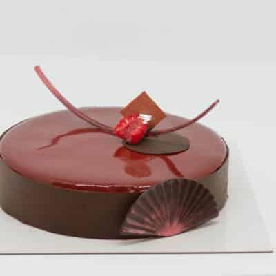 ACAJOU : biscuit moelleux aux myrtilles, crémeux lacté noisette et mousse légère au chocolat noir